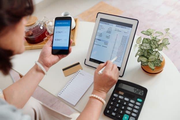 Woman checking brokerage account
